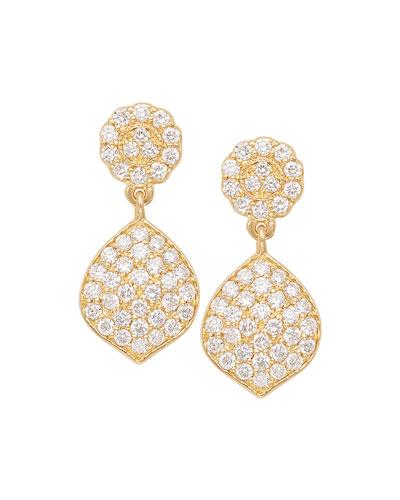 Tiny Pave Acorn Earrings with Diamonds