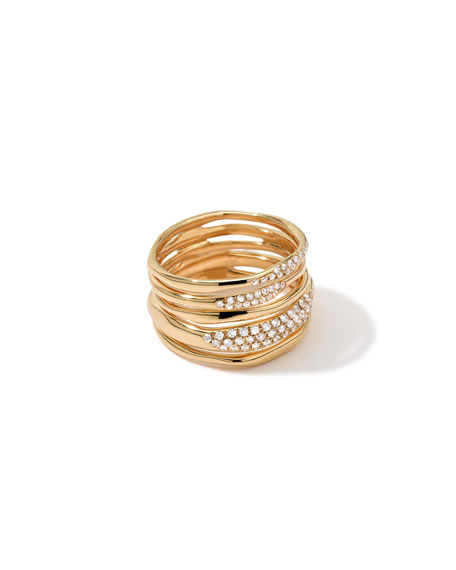 Stardust Five-Row Squiggle Ring with Diamonds, Size 7