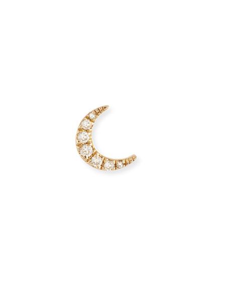 Diamond Mini Moon Single Stud Earring