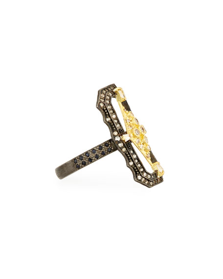 Old World Crivelli Scalloped Rectangle Ring with Diamonds, Size 7