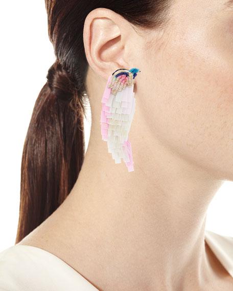 Beaded Bird Statement Earrings