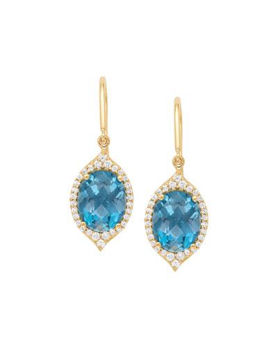 18k Small Oval Aladdin Pave Earrings w/ Blue Topaz & Diamonds