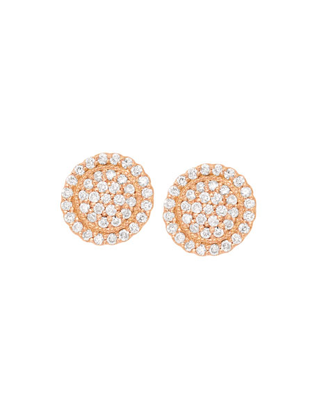 18k Diamond Pave Round Stud Earrings