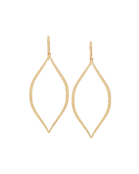 18k Twisted Marquise Drop Earrings