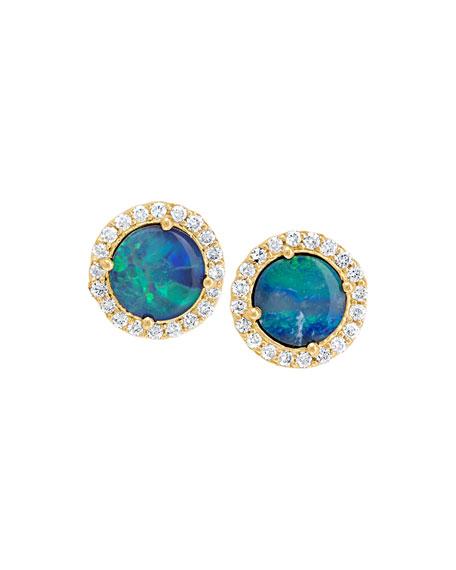 18k Diamond-Edged Boulder Opal Stud Earrings