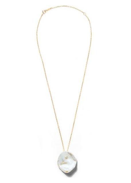 14k Single Petal Pearl Pendant Necklace