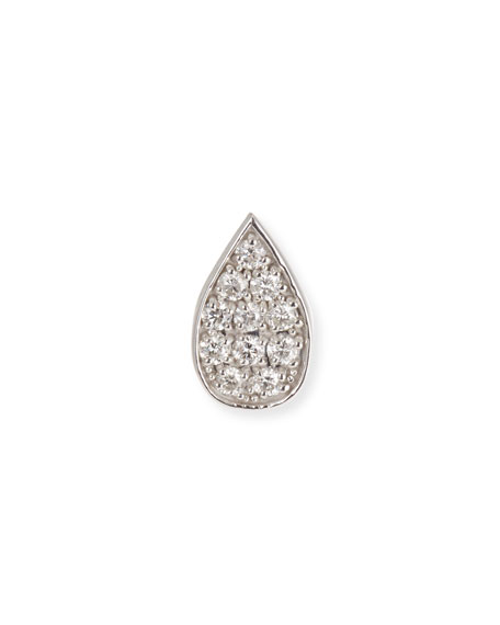 14k White Gold Diamond Paisley Petal Stud Earring (Single)