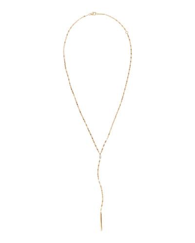 14k Gold Pear Diamond Y-Drop Necklace