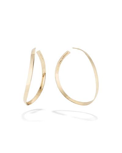 14k Gold Curve Wave Hoop Earrings