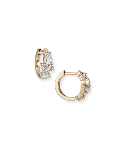 Cocktail 14k Gold Diamond Huggie Hoop Earrings