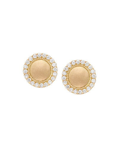 18k Diamond Pave Edge Stud Earrings