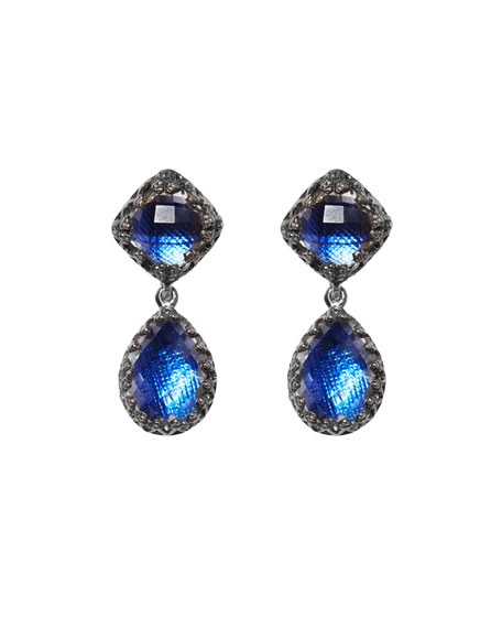 Small Jane Quartz Drop Earrings, Cobalt