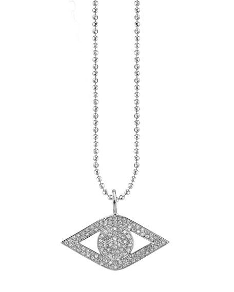 14k White Gold Large Diamond Evil Eye Necklace