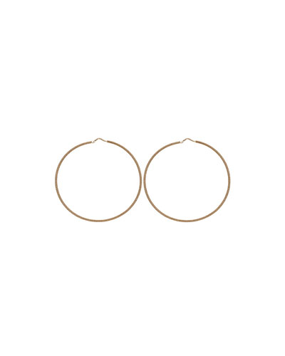 18k Gold Florentine Large Hoop Earrings