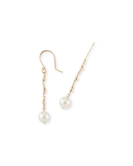 14k Gold Single-Pearl Drop Earrings