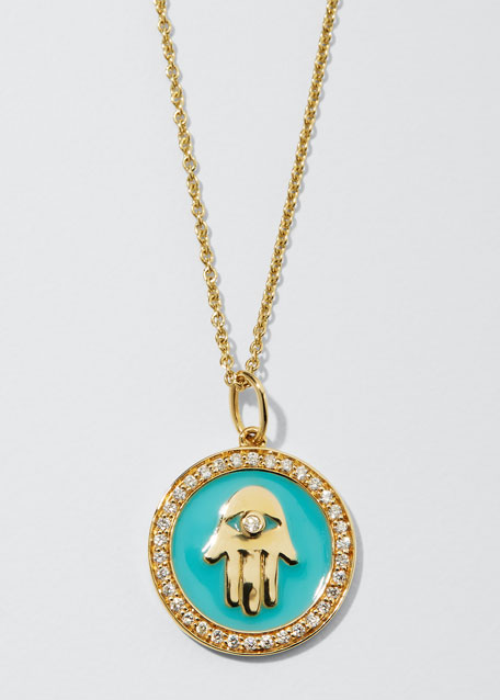 14k Hamsa Enamel Medallion Necklace w/ Diamond Pave