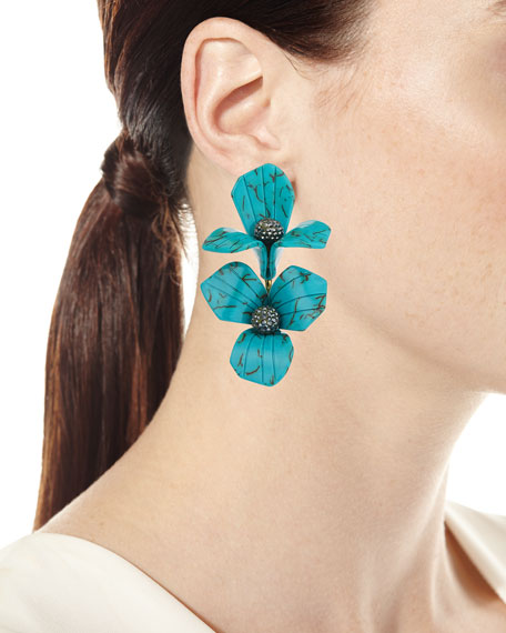 Trillium Bouquet Drop Earrings, Turquoise