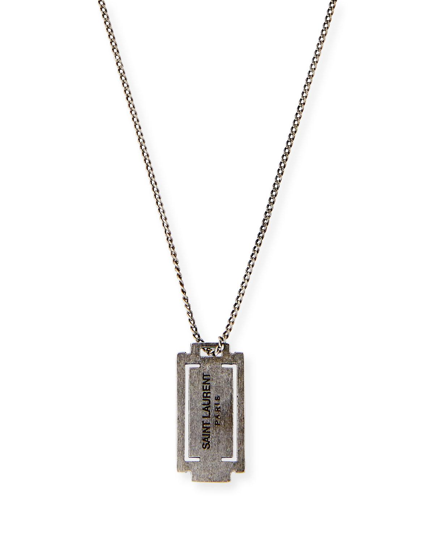 Saint Laurent Long Razor Necklace- Silver