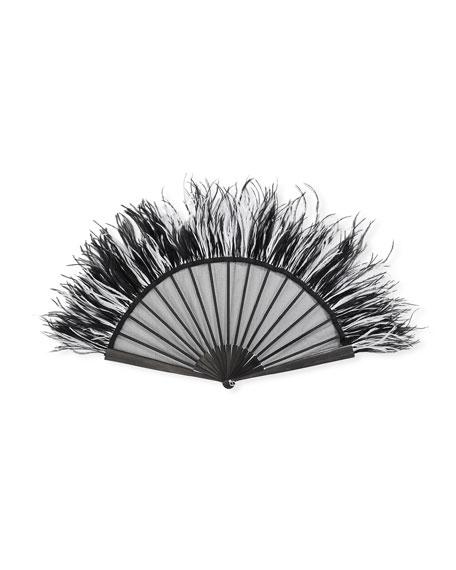 Gina Silk Leaf Ostrich Feather Fan