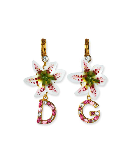 Lily Embellished Logo-Drop Earrings