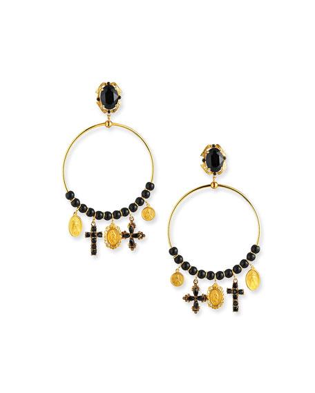 Embellished Hoop-Drop Earrings