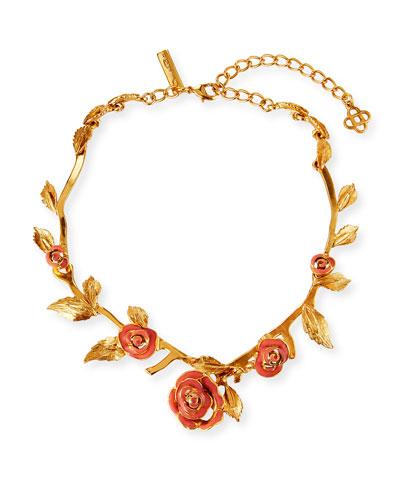 Petite Matte Rose Necklace  Coral
