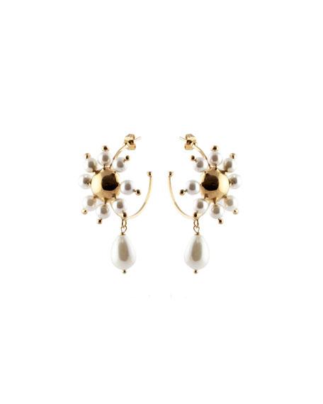 Daisy Faux Pearl Hoop Earrings