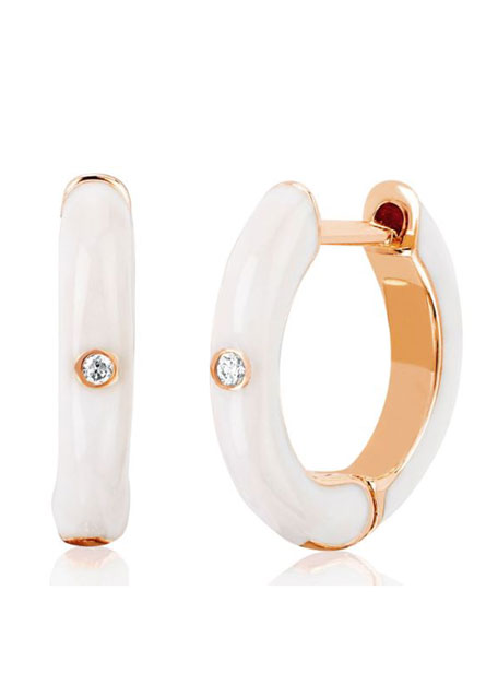 14k Rose Gold Diamond & Enamel Huggie Earring, Single, White