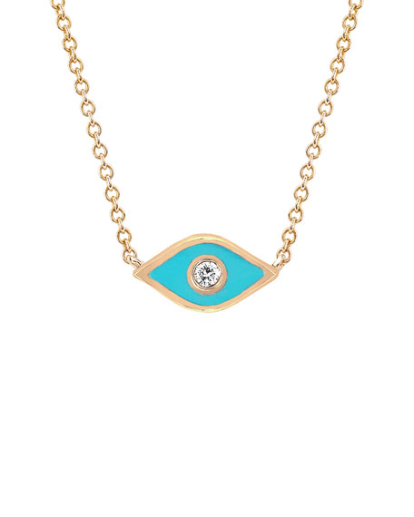 14k Rose Gold Diamond & Enamel Evil Eye Necklace, Turquoise
