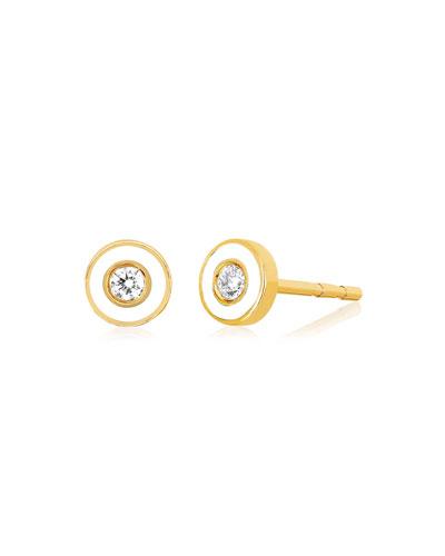 14k Diamond Bezel & Enamel Stud Earring  Single  White