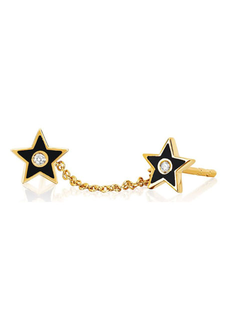 Image 1 of 1: 14k Diamond & Enamel Double-Star Chain Earring, Single, Black
