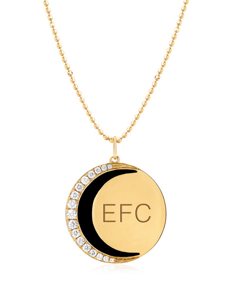 14k Diamond & Enamel Moon Necklace, Black