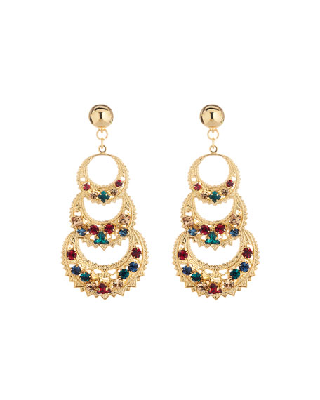 Mixed-Crystal 3-Crescent Drop Earrings