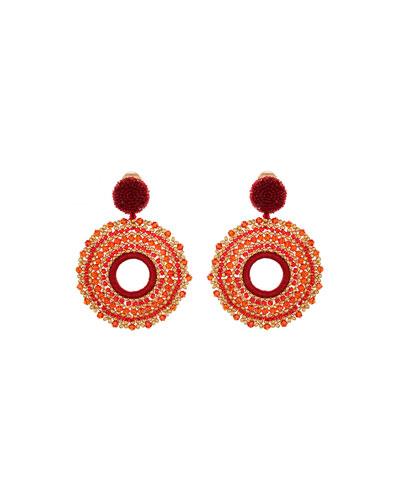 Beaded Circular Clip-On Drop Earrings