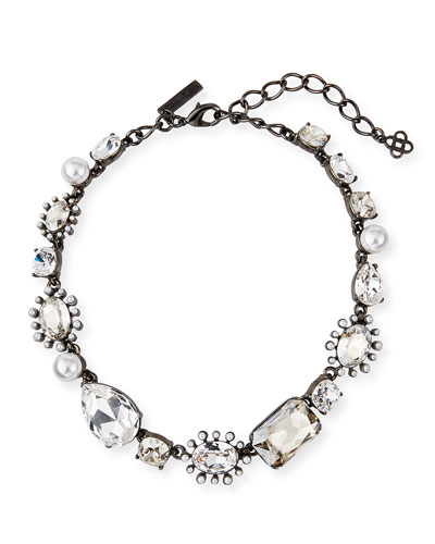Bold-Mix Jeweled Necklace  Silver