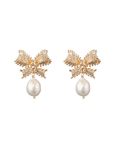 Vale Pearly-Drop Bow Earrings
