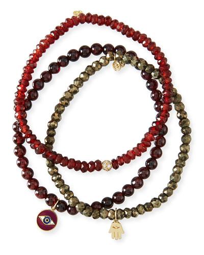 Bordeaux Protection Trio Garnet & Hamsa Bracelets  Set of 3