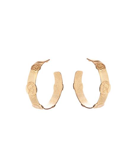 Embossed Coin Hoop Earrings