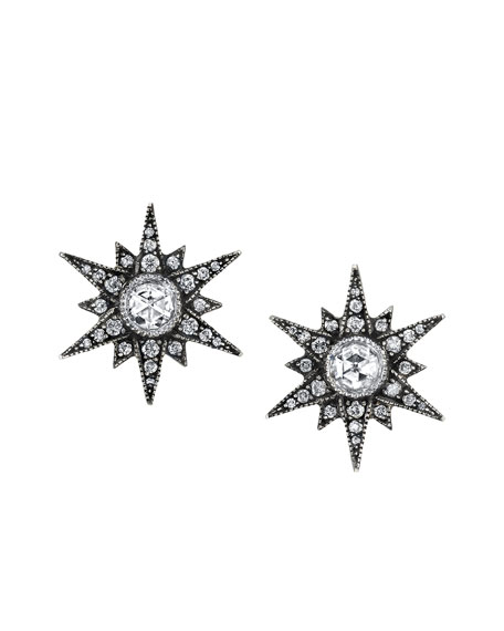 Rose-Cut Diamond Starburst Stud Earrings