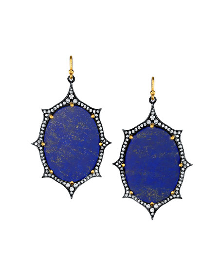 Lapis Diamond-Trim Drop Earring