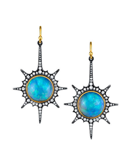 Diamond Starburst Opal-Dangle Earrings