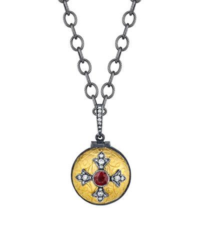 Ruby Cross Poison Ball Locket Necklace w/ Diamonds