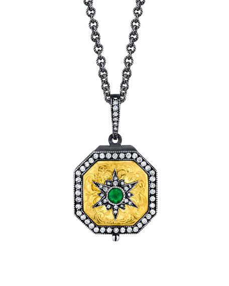 Emerald Starburst Locket Necklace