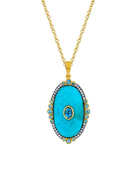 Turquoise Locket w/ Aquamarine Necklace
