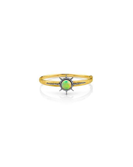 Opal Sunburst Hinged Bracelet