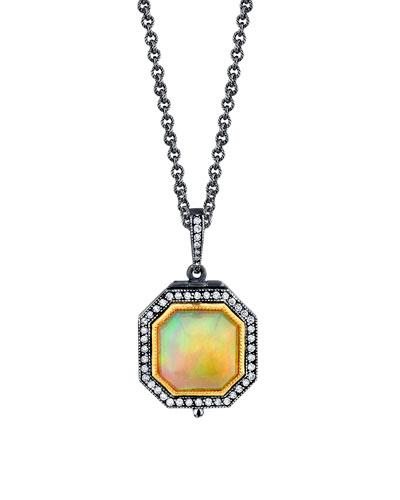 Diamond-Trim Opal Pendant Necklace