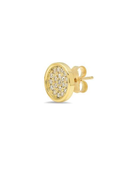 18k Diamond Pave Circle Stud Earrings