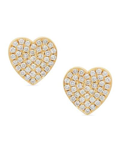 18k Diamond Pave Heart Stud Earrings