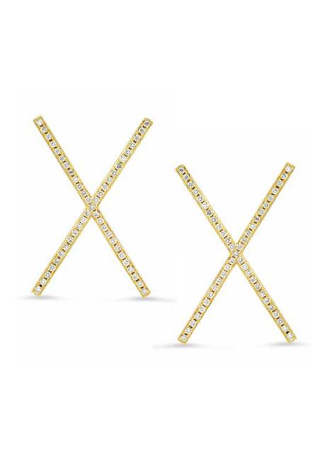 18k Yellow Gold Diamond Pave X-Stud Earrings