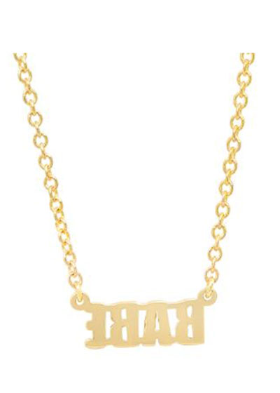 14k Gold BABE Pendant Necklace